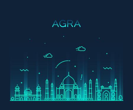 Agra skyline, India. Trendy vector linear style