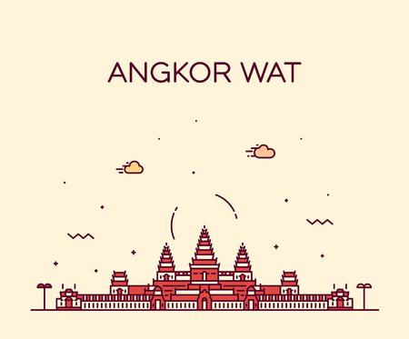 Angkor Wat skyline Cambodge vector style linéaire Vecteurs