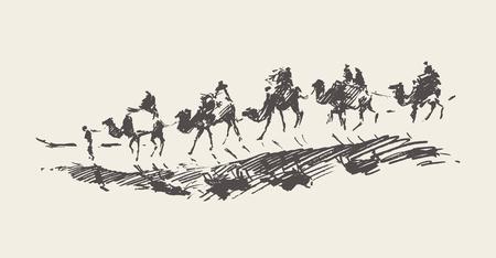 Caravana con camellos en el desierto, Ilustración de vector dibujado a mano, bosquejo