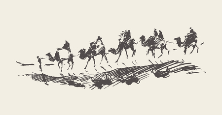 Carovana con cammelli nel deserto, illustrazione vettoriale disegnata a mano, schizzo