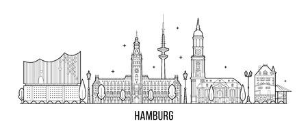 Hamburg skyline, detailed silhouette. Trendy vector illustration, linear style 일러스트