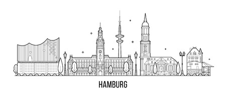 Hamburg skyline, detailed silhouette. Trendy vector illustration, linear style Illustration