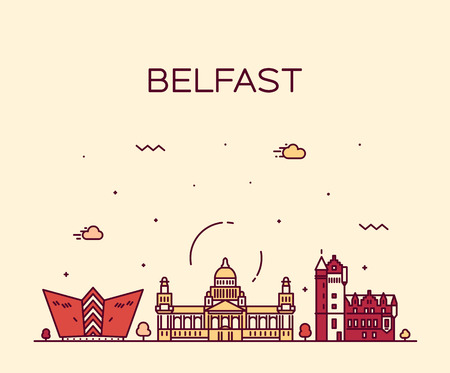 Belfast skyline, Northern Ireland. Trendy vector illustration, linear style Illustration