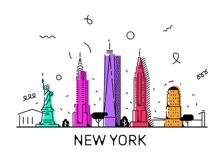 Styl wektorowy Memphis w Nowym Jorku, 80 s, 90 s Ilustracje wektorowe