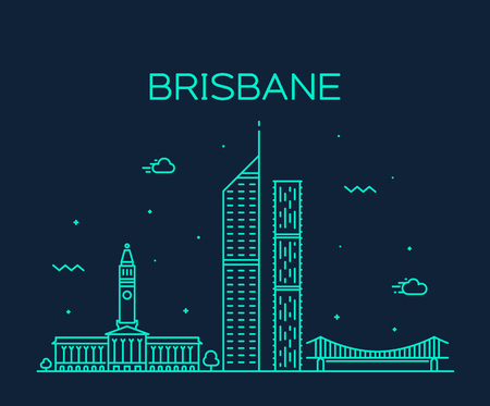Brisbane skyline, Queensland, Australia. Trendy vector illustration linear style