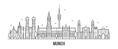 Münchner Skyline, Deutschland. Diese Illustration stellt die Stadt mit ihren bemerkenswertesten Gebäuden dar. Vektor ist vollständig editierbar, jedes Objekt ist ganzheitlich und beweglich