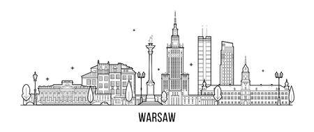 ワルシャワのスカイラインポーランドの都市の建物ベクトル