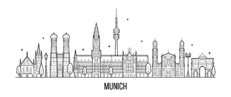 Munich skyline, Germany. This illustration represents the city with its most notable buildings. Vector is fully editable, every object is holistic and movable Иллюстрация