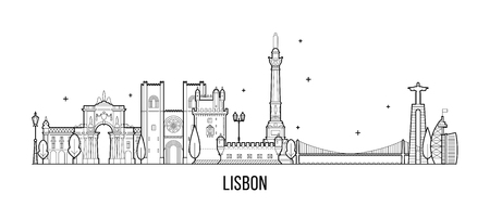 Lisbon skyline, Portugal. This illustration represents the city with its most notable buildings. Vector is fully editable, every object is holistic and movable 免版税图像 - 112118223