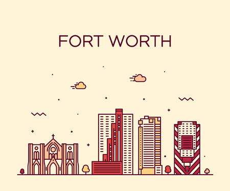 Fort Worth skyline, Texas, USA. Trendy vector illustration linear style Illustration
