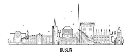 Dublin skyline Ierland vector grote stad gebouwen Vector Illustratie