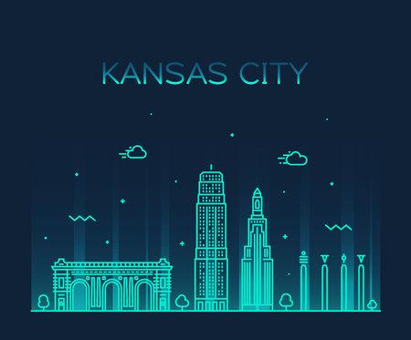 Kansas city skyline, Missouri, USA. Trendy vector illustration linear style