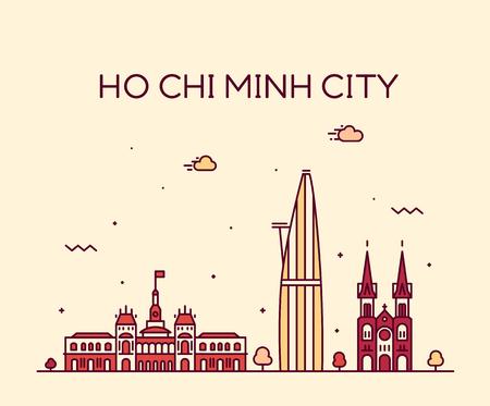 Ho Chi Minh City, Saigon, skyline, Vietnam. Trendy vector illustration linear style