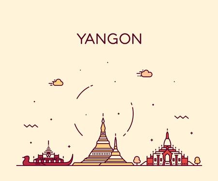 Yangon skyline, Myanmar. Trendy vector illustration linear style Stock Illustratie