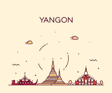 Yangon skyline, Myanmar. Trendy vector illustration linear style Иллюстрация