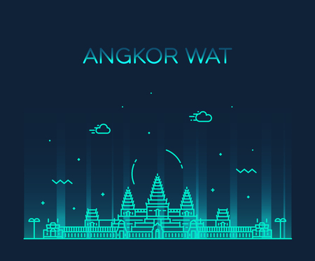 Angkor Wat skyline, Cambodia. Trendy vector illustration, linear style Çizim