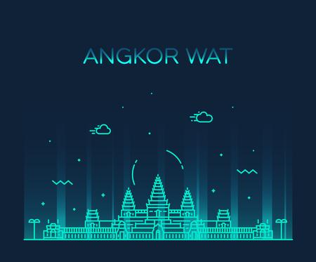 Horizonte de Angkor Wat, Camboya. Ilustración de vector de moda, estilo lineal