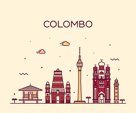 Colombo skyline, Sri Lanka. Trendy vector illustration, linear style