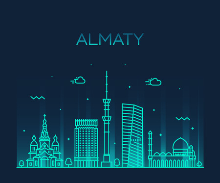 Almaty skyline, Kazakhstan. Trendy vector illustration linear style