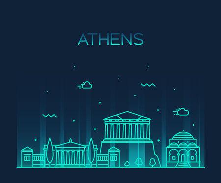 Skyline von Athen, Griechenland. Trendiger linearer Stil der Vektorillustration