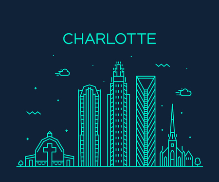 Charlotte city skyline, North Carolina, USA. Trendy vector illustration, linear style Illustration