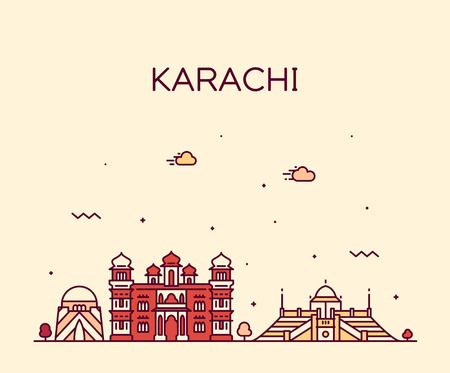 Karachi skyline, Pakistan. Trendy vector illustration linear style