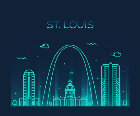 Skyline della città di St. Louis Missouri USA vettore lineare