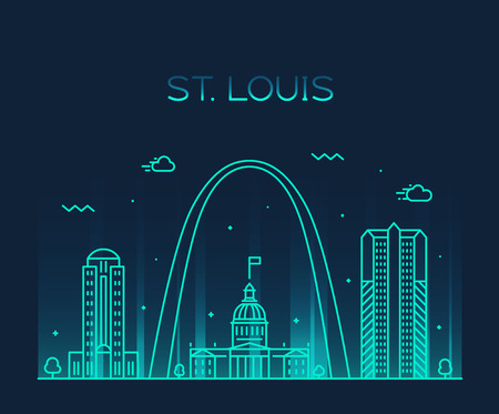 St. Louis city skyline Missouri USA vector linear