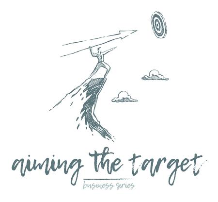 Business concept, businessman shooting at the target, vector illustration, sketch