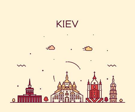 Kiev skyline, Ukraine. Trendy vector illustration linear style