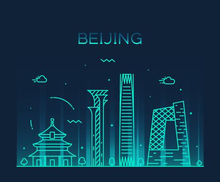 Beijing skyline, China Trendy vector illustration, linear style Vector Illustration