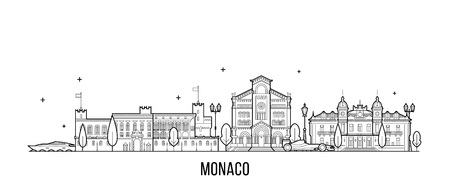 Monaco skyline vector big city buildings line