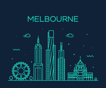 Melbourne city skyline, Australia. Trendy vector illustration, linear style