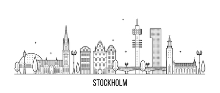 Stockholm skyline, Sweden. This illustration represents the city with its most notable buildings. Vector is fully editable, every object is holistic and movable