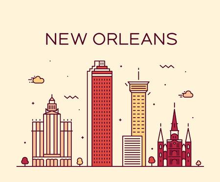 New Orleans USA skyline vector line art style Vecteurs