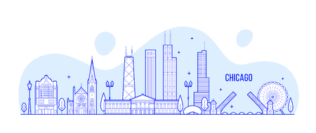 Chicago skyline, USA. This vector illustration represents the city with its most notable buildings. Vector is fully editable, every object is holistic and movable Illustration