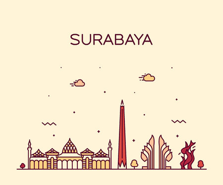 Surabaya skyline, East Java, Indonesia. Trendy vector illustration linear style