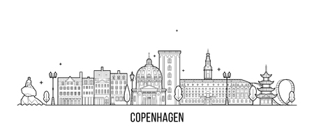 Copenhagen skyline Denmark vector city line style Ilustrace