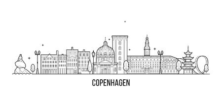 Panoramę Kopenhagi Dania wektor styl linii miasta