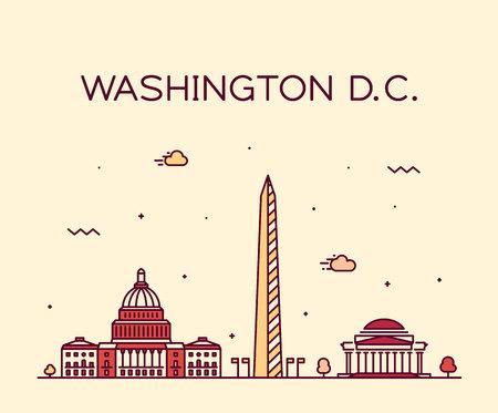Washington D. C., USA Trendy vector illustration linear style