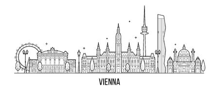 Vienna skyline, Austria big city building vector Imagens - 107337009