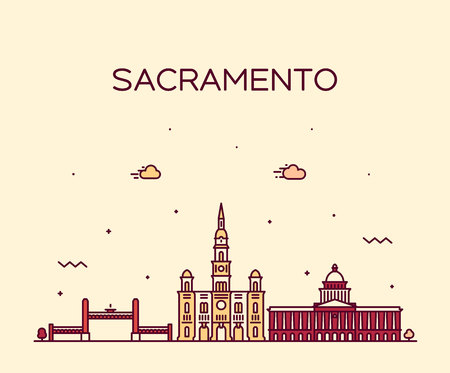 Sacramento skyline, California, USA. Trendy vector illustration linear style