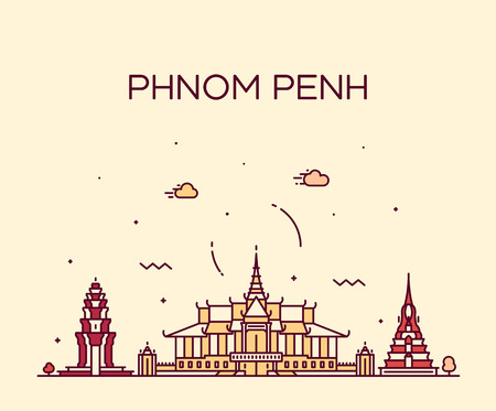 Phnom Penh skyline Cambodia Trendy vector linear Ilustração
