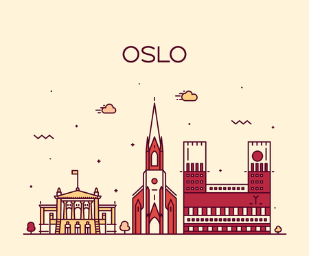 Oslo city skyline, Norway. Trendy vector illustration, linear style