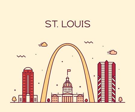 St. Louis city skyline Missouri USA vector linear