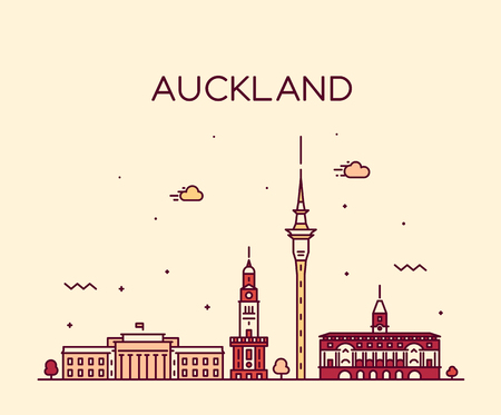 Auckland city skyline, New Zealand. Trendy vector illustration, linear style