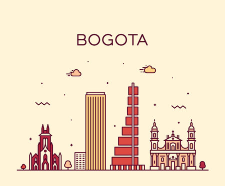 Bogota skyline, Colombia. Trendy vector illustration linear style