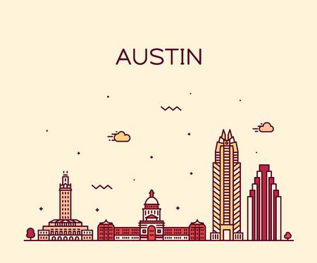 Austin skyline, Texas, USA. Trendy vector illustration linear style