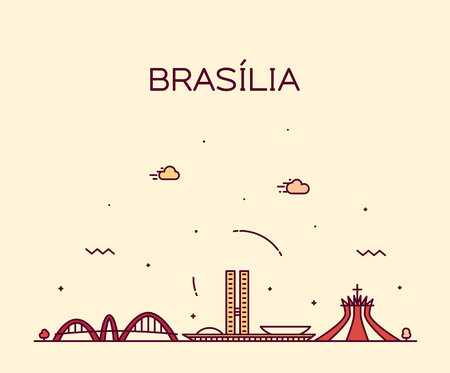 Brasilia skyline, Brazil vector linear style city