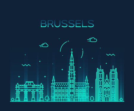 Brussels skyline, Belgium. Trendy vector illustration linear style Иллюстрация